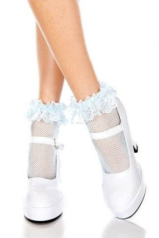 Fishnet Anklet With Ruffle Trim