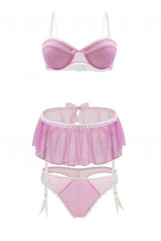 Pink Lady Mesh Bra, Skirt And Panty Set
