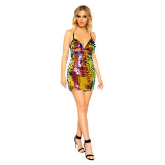 Low Cut Tear Drop Sequin Mini Dress