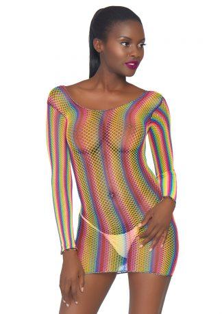 Rainbow Fishnet Long Sleeved Mini Dress