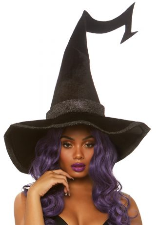 Bewitched Velvet Witch Hat With Glitter Trim