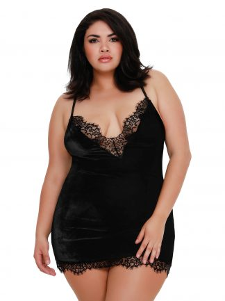 Plus Size Stretch Velvet Chemise with Fringed Eyelash