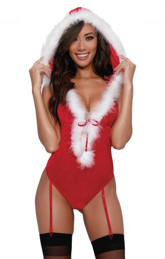 Santa Themed Stretch Panne Velvet Teddy
