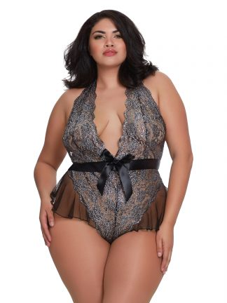 Plus Size Metallic Print Teddy with Flutter Mesh Hip Detailing