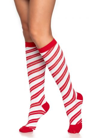 Candy Cane Lurex Knee Socks