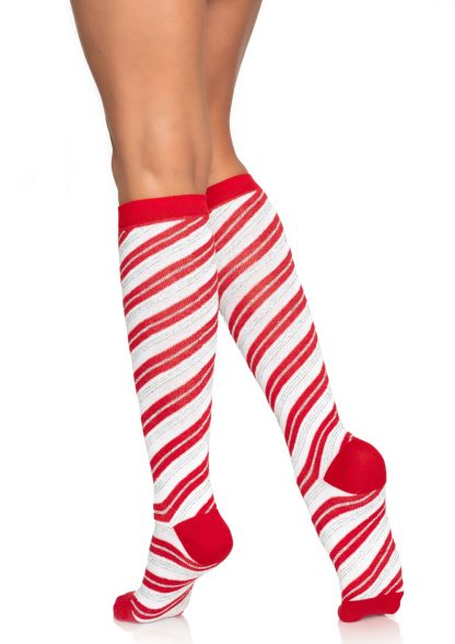 Candy Cane Lurex Knee Socks