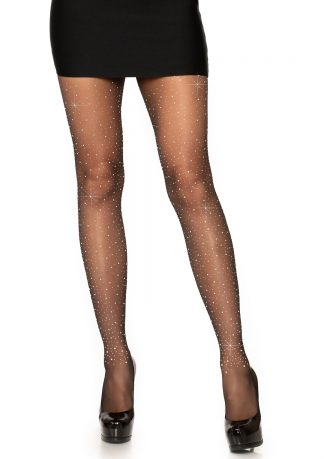 Spandex Sheer Rhinestone Pantyhose