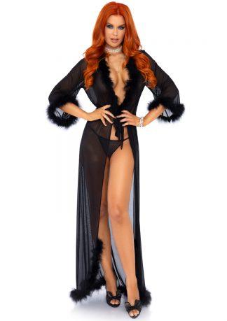 3 Piece Marabou Trimmed Long Sheer Robe Set