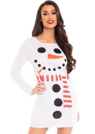 Snowman Long Sleeve T-Shirt Dress