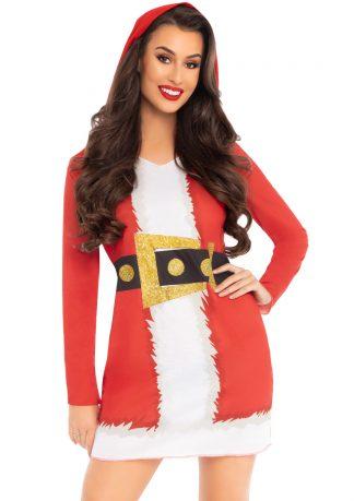 Santa Hooded Long Sleeve T-Shirt Dress