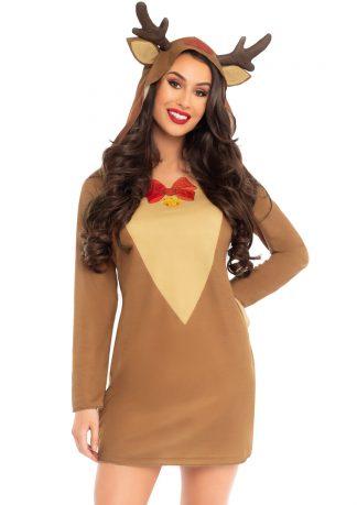 Reindeer Long Sleeve T-Shirt Dress With Antler Hood