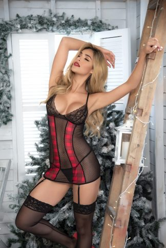 8470 Babydoll with Garter Straps & Matching G-String