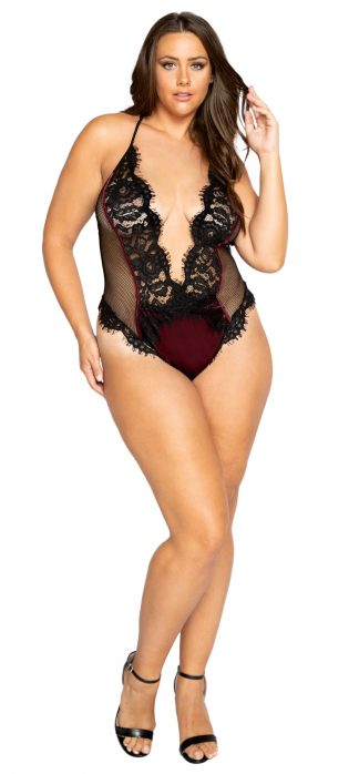 Roma Costume Plus Low Plunge Eyelash Embroidered Lace & Satin Teddy with Snap Bottom
