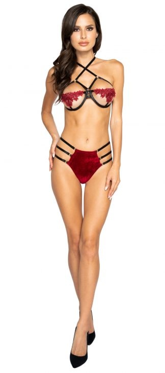 Roma Costume Strappy High-Waisted Short Set with Applique Detailed Underwire Top