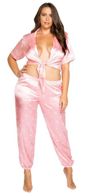 Roma Costume Plus LOVE Satin Pajama Pant Set