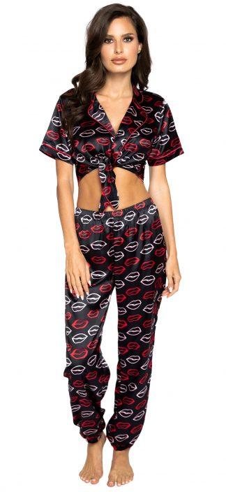 Roma Costume Lips Satin Pajama Pant Set