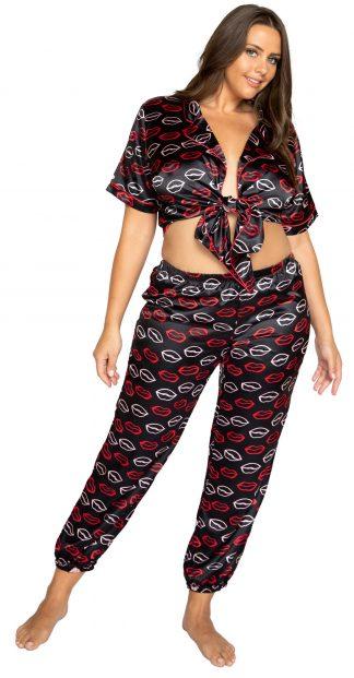 Roma Costume Plus Lips Satin Pajama Pant Set