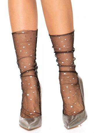 Stars And Moons Embellished Sheer Tulle Anklet Sock