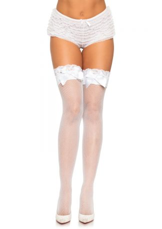 Lace Top Lycra Fishnet Thigh Hi with Bow
