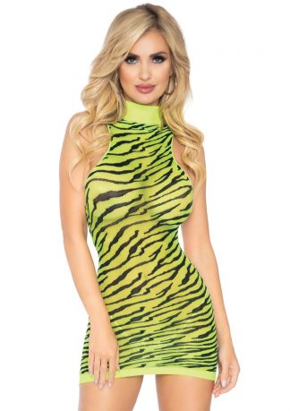 High Neck Neon Sheer Zebra Racer Back Mini Dress
