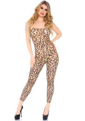 Sheer Leopard Footless Bodystocking