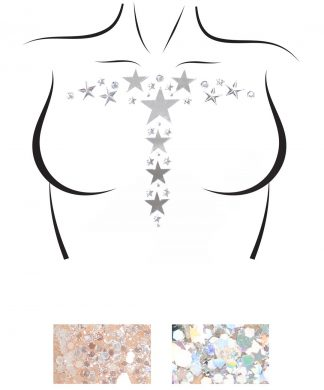 Kismet Adhesive Mirror Star And Rhinestone Body Sticker And Two 3g Body Glitter Packets