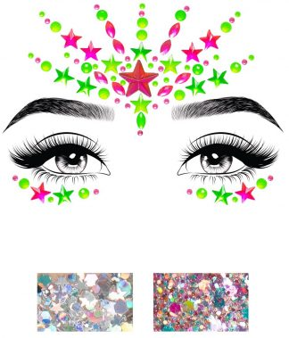 Vibe Neon Adhesive Black Light Face Jewel Sticker And Two 3g Body Glitter Packets