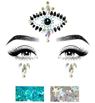 Divinity Adhesive Face Jewels Sticker And Two 3g Body Glitter Packets