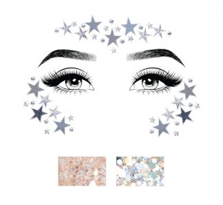 Dream Adhesive Mirror Star And Rhinestone Face Sticker And Two 3g Body Glitter Packets