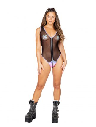 Sheer Romper with Zipper Closure & Snake Detail