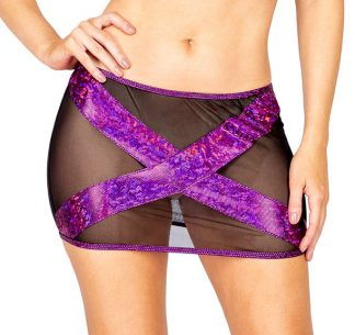 1pc Sheer Mesh & Shimmer Iridescent Criss-Cross Skirt