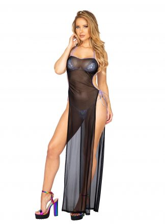 1pc Sheer Mesh Maxi Length Dress with Tie Side