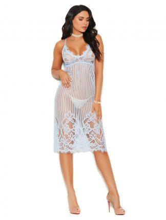 11024 Eyelash Lace Tea Length Lace Gown
