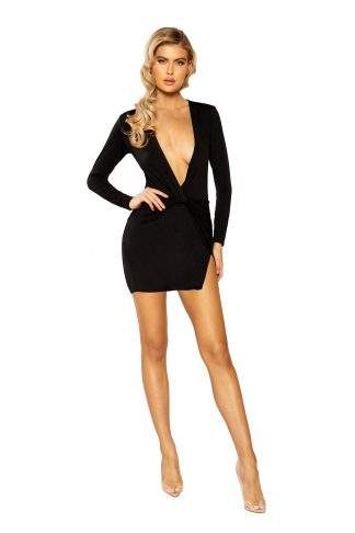 3934 Low Plunge Mini Dress with Slit