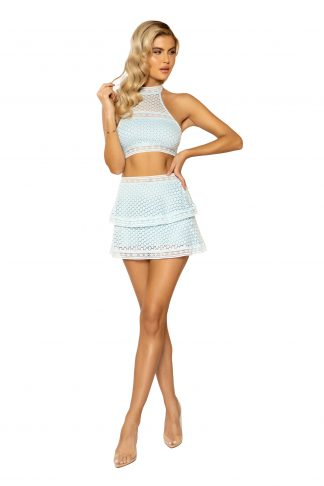 3937 2pc High-Waisted Lace Panel Tiered Skirt & Cropped Top