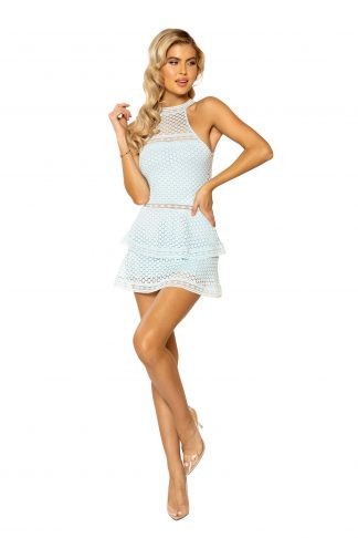3938 Lace Panel Tiered Bodycon Dress