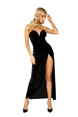 3946 Maxi Length Velvet Dress with V-Wire Detail