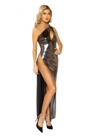 3947 Maxi Length Shimmer Dress with High Slit & Keyhole