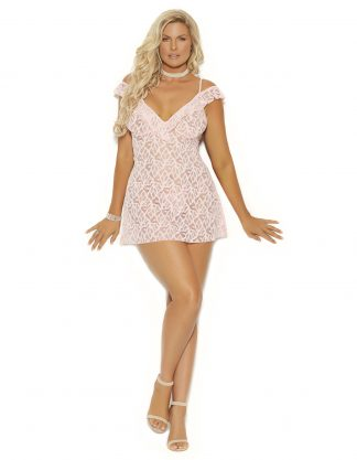 44037X Off the Shoulder Deep V Lace Babydoll