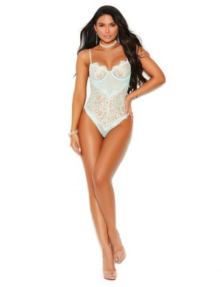 77060 Mesh and Eyelash Lace Slip On Teddy with Underwire Cups