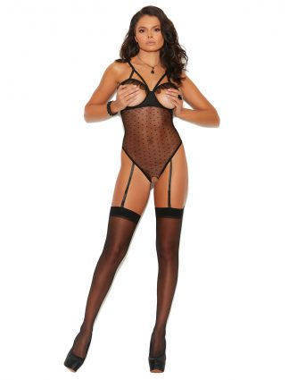 77072 Dotted Mesh Cupless and Crotchless Slip On Teddiette