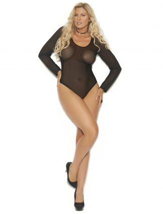 77081X Long Sleeve Mesh Teddy with Snap Crotch