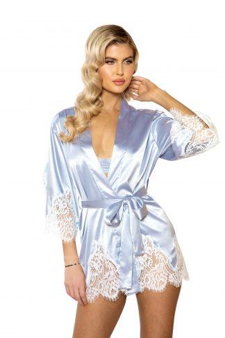 LI395 1pc Elegant Cutout Eyelash Lace & Satin Robe