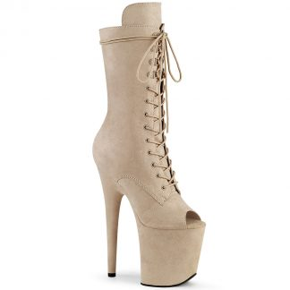 FLAMINGO-1051FS Peep Toe Lace-Up Mid Calf Boot with Side Zip