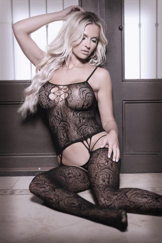 Nights Like This Gartered Bodystocking With Cutout Front