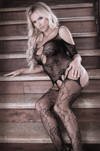 Aphrodite Floral Net Cold Shoulder Gartered Bodystocking With Cutout Sleeves