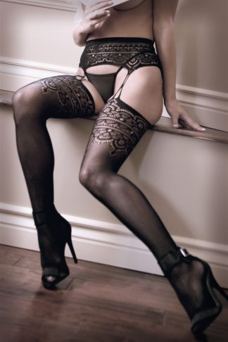 Into You Geometric Garter Belt With Attached Stockings