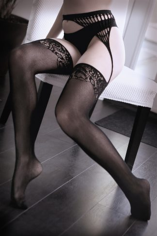 I Don't Mind Net Garter With Attached Floral Stockings and Cutout Backseam