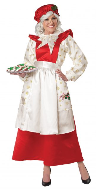 Mrs Claus Pinafore Dress With Apron Adult Costume