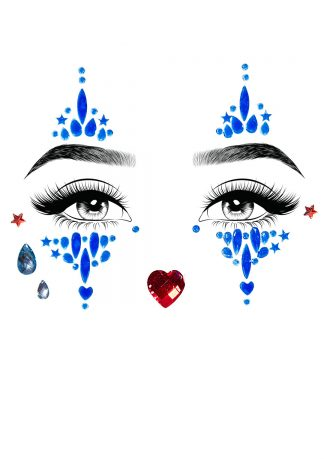 Harlequin Adhesive Face Jewels Sticker